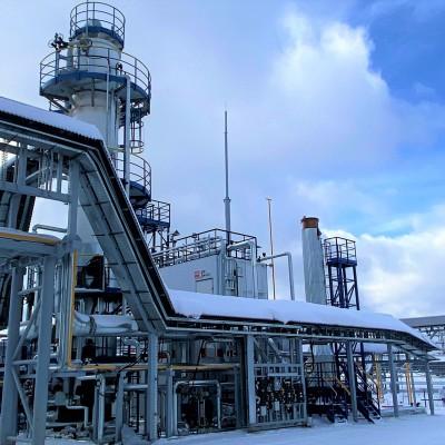 Установка гликолевой осушки сероводородосодержащего попутного нефтяного газа